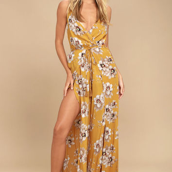 Going to the Garden Golden Yellow Floral Print Jumpsuit