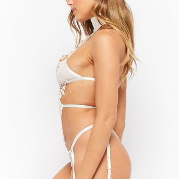Oh La La Cheri Embroidered Lace Halter Teddy