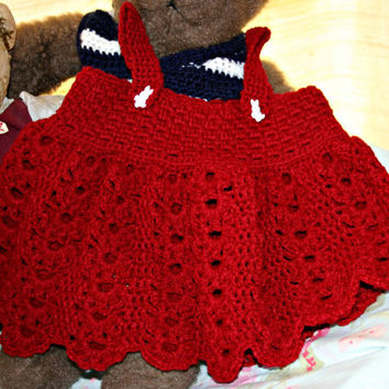 Crochet baby dress sun summer crochetyknitsnbits hand made baby girl clothes crochet wine red Sarafan shower gift layette 3 to 9 months OOAK
