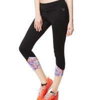 LLD FLORAL ACCENT CROPPED LEGGINGS