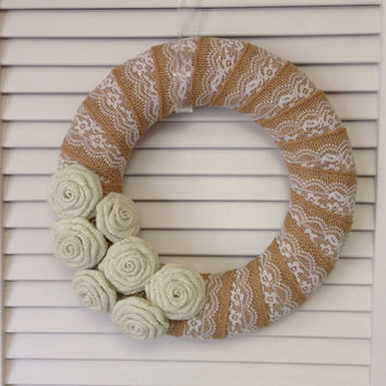 "12"" Burlap and Lace Wreath, Wreath for All Year, Burlap Flowers, Burlap Wreath, Lace Wreath, Cream Wreath, Summer Wreath"