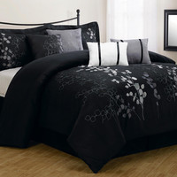 8 Piece Queen Gatsby Black and Silver Embroidered Comforter Set