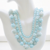 Powder Blue Triple Strand Sugar Bead Necklace Vintage 1950s Japan Hollywood Regency Designer Costume Jewelry Perfect For Spring Summer