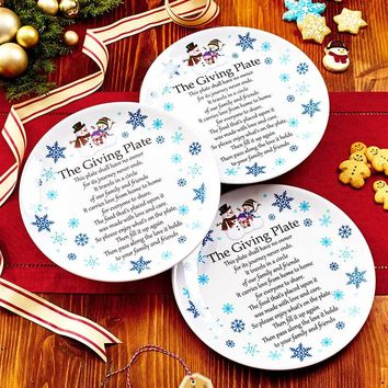 Giving Plate Set of 3 Melamine Family Tradition Snowman or Garland Print