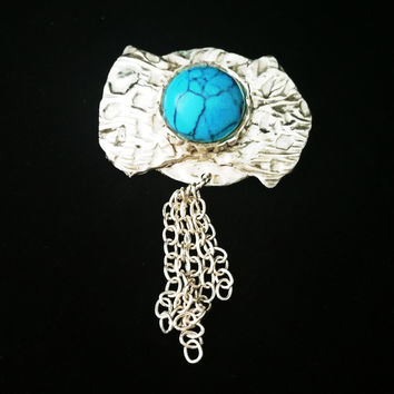BOLO STYLE COUNTRY WESTERN PIN - .925 Sterling Silver & Turquoise