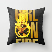 Hunger Games - Girl on Fire Throw Pillow by Cloz000