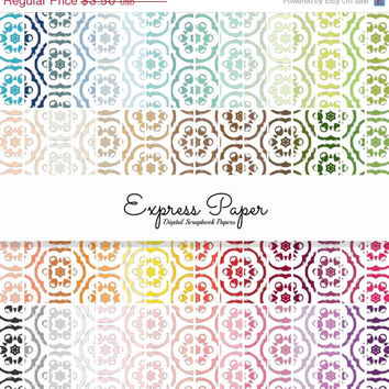 SALE 64 Suzani Pattern Digital Papers- 12x12 and 8.5x11 included-Digital Paper Rainbow includes dark, bright, neutral and pastel colors.
