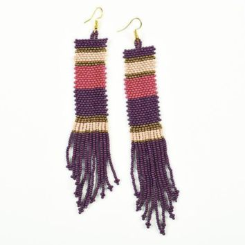 Ink + Alloy | PORT, PINK, TERRA COTTA LONG STRIPE SEED BEAD EARRINGS
