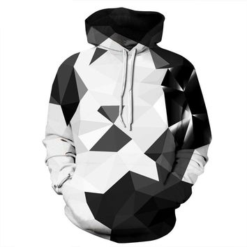 Hoodies Women/Men Black and white geometric digital printing Hooded Sweats Tops Sports Harajuku Pullover Couple