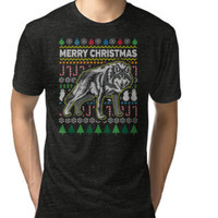'Wolf Wildlife Series Merry Christmas Ugly Sweater Style' Men's Premium T-Shirt by EPDLLC