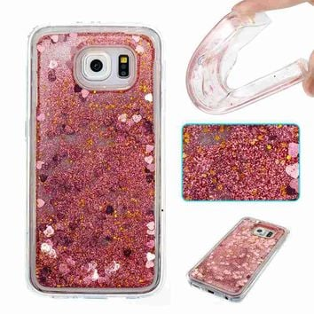 for Samsung Galaxy S6 Dynamic Liquid Glitter Paillette Cases for Samsung S6 G920F Bling Quicksand Back Cover TPU Silicone Case