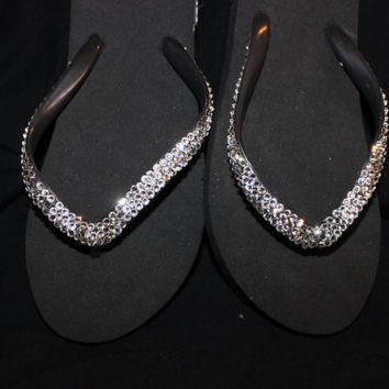 Size 7 black flip flops covered in over 300 Swarovski Crystals, blingy black flip flops, flat flip flops, flip flops with bling