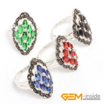 Ring: 3x6mm Marquise Semi Ruby Beads & Tibetan Silver Base Marcasite Frame 15x28mm Classical Ring For Party Hot Item !