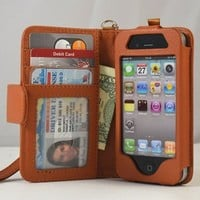 Navor Folio Wallet Case for iPhone 4 4S Pockets for Cards & Money, Clear Window Slot for License ID ( Brown )