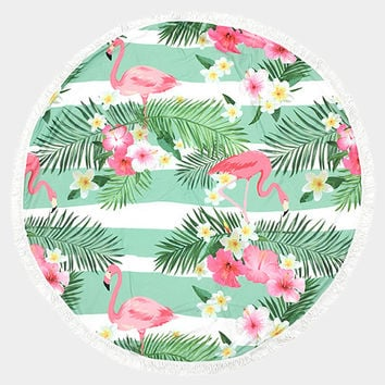 Green, Pink & White Tropical Flamingo Pattern Round Cotton Beach Towel with Tassel Trim Beach blanket / Beach towel / Wrap / Rug