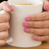 White and Black Zigzags on Pink Minx Nail Art
