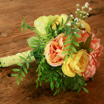 Silk Coral Peony Coral Yellow Wedding Bouquet Hydrangea and Yellow Ranunculus - Silk Bouquet