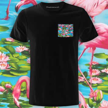 Flamingo Paradise Black Pocket Tee