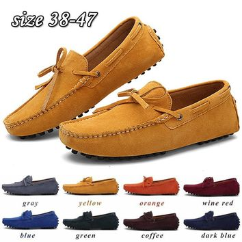 New Arrival Fashion Men's Shoes Casual Fashion Peas Shoes Suede Leather Men Loafers Moccasins Slip On Men's Flats Male Driving S