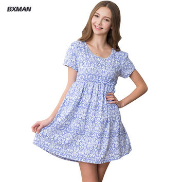 BXMAN Brand Women Floral SummerO-Neck Nightgown Home Women Cotton Nightgowns & Sleepshirts Girls Homewear 276
