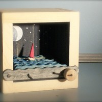 red sailboat at night automaton by cartoonmonster on Etsy