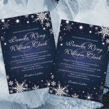 DIY Printable Wedding Invitation Card Template | Editable MS Word file | 5 x 7 | Instant Download | Winter White Snowflakes Royal Navy Blue