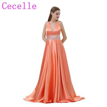 orange Satin Long Sexy Deep V Neck 2018 New Prom Dresses With Beaded Belt V Back A-line Teens Formal Evening Party Dress online