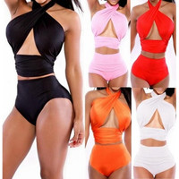 5-color Sexy Swimwear Two-piece Swimsuit Split Swimsuit Hot Springs Swimsuit Solid Color Swimwear Bikini Swimsuit Maillot De Bain Plus Size M~XL [10572406548]