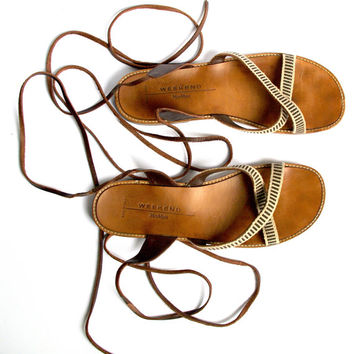 MAX MARA Weekend Women Gladiator Beige/Brown Leather Sandals / Lace up Greek Sandals / Great women summer sandals from 90's Made in Italy