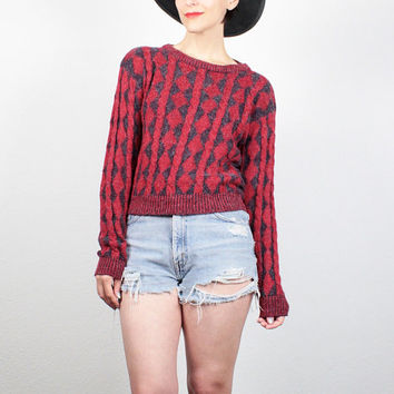 Vintage 80s Sweater Burgundy Dark Red Navy Blue Textured Cable Knit Sweater 1980s Sweater Boho Boyfriend Sweater Pullover Jumper XS S Small