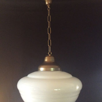 Vintage Milk Glass Pendant School House Light Large Globe 1920s Indusk trial (2 of 2)