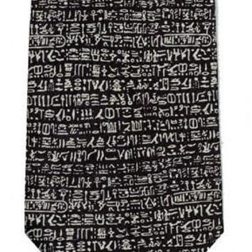 Rosetta Stone Egyptian Hieroglyphs Mens Black Silk Neck Tie