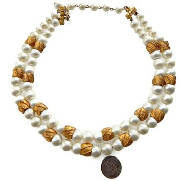 Multi Strand Large White Pearl Necklace with Gold Barrel Beads Signed Coro