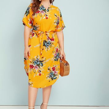 Plus Floral Print Notched Belted Curved Hem Midi Dress