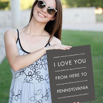 PENNSYLVANIA State Wall Poster | Gift Idea | HopSkipJumpPaper