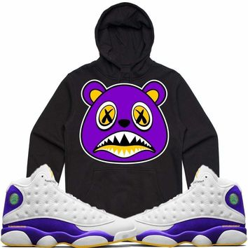 LA BAWS Black Sneaker Hoodie - Jordan Retro 13 Lakers
