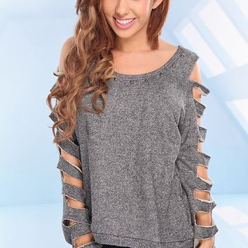 BLACK WHITE SHREDDED CUT OUT LONG SLEEVES STUDDED SWEATER TOP