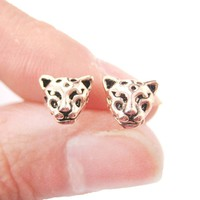 Realistic Leopard Tiger Cheetah Shaped Animal Themed Stud Earrings in Rose Gold