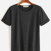 Black Rolled Sleeve Basic T-shirt -SheIn(Sheinside)