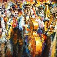 Amazon.com: KLEIZMER CATS is an Original Oil Painting on Canvas by Leonid Afremov: Leonid AFREMOV: Fine Art