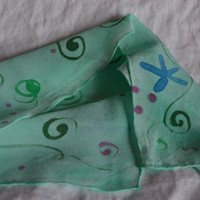 Green Silk Scarf with Swirls & Stars