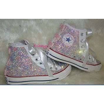 Kids High Top Sequin Bow Rhinestone Converse 346561e80