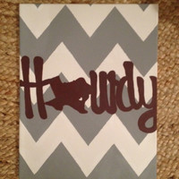A&M Chevron Howdy Canvas by GirlieCoutureBows on Etsy
