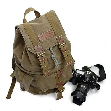 Waxed Canvas DSLR Camera Travel Backpack - AG