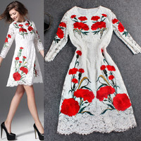 Solid Floral Lace Embroidered Swing Mini Dress