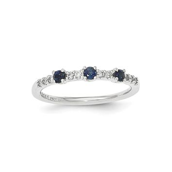 14k White Gold Diamond And Sapphire 3-stone Ring