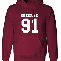 Sheeran 91 crew neck shirt unisex womens mens ladies  print  Hoodie sweatshirt Ed Concert, Tour, Gig, pullover sweater jumper