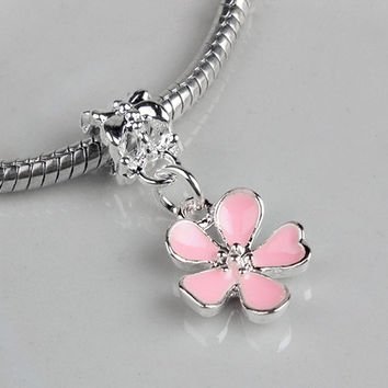 Free Shipping Silver Bead Charms European Cherry Blossoms Flower Pendant Bead Fit Women Diy Pandora Bracelets & Bangles YW15530