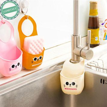 Kitchen Bathroom Sink Hanging Storage Bag Rack Holder, Cartoon Soap Dish Organizer Box, Sink Snap Storage Soap Sponge Container