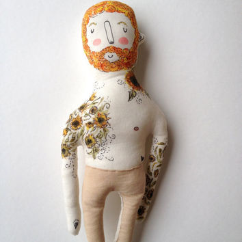 Vincent Van Gogh- Sunflowers- art doll-Tattoo Sleeve- Plush Doll
